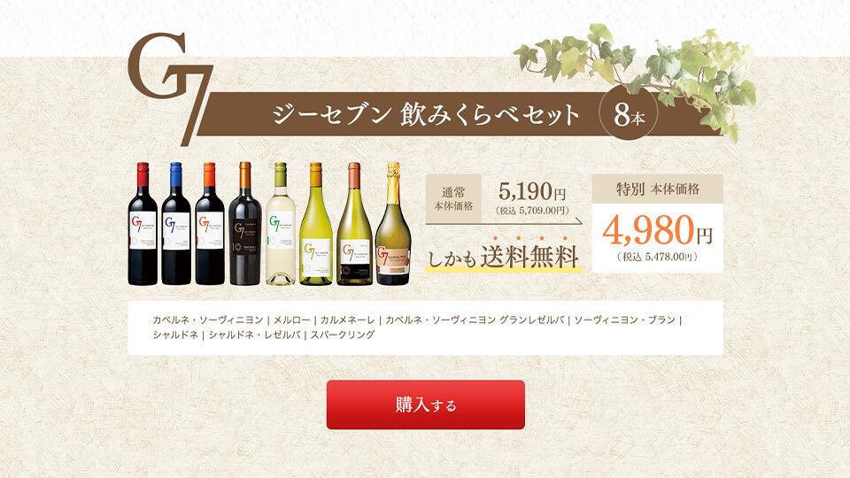 """""""見てるだけ美味しさが伝わる。傑作ワインの紹介。"""" チリワインG7シリーズ"""