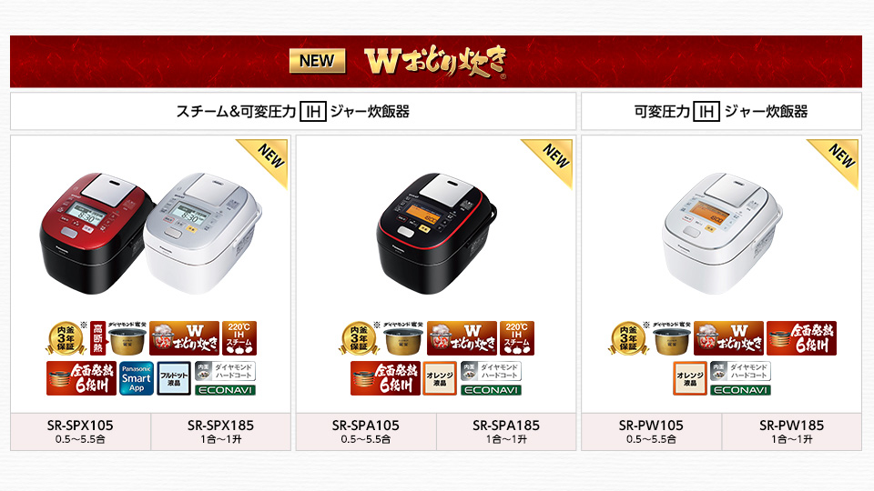"""""""米の旨さを引き出す最高傑作炊飯器。"""" Wおどり炊き 製品サイト"""